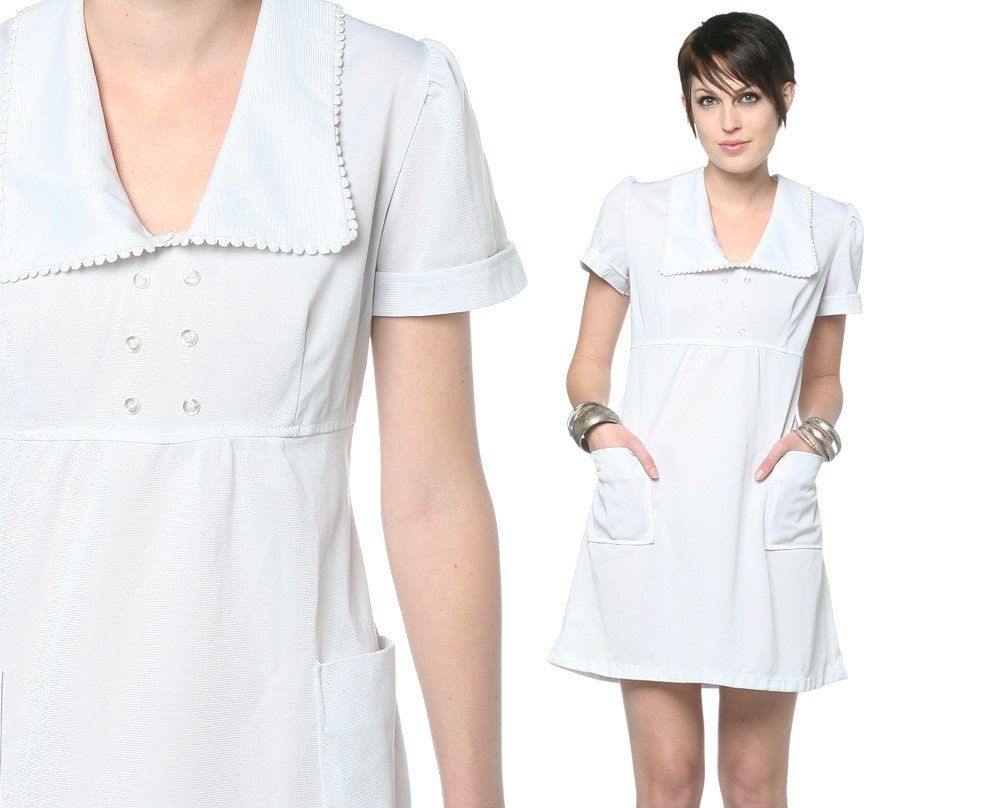 60s white dress nurse uniform babydoll 1960s mini by shopexile