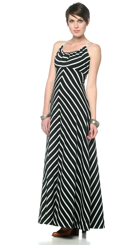 70s Maxi Chevron Dress Black and White Striped Open Back Op