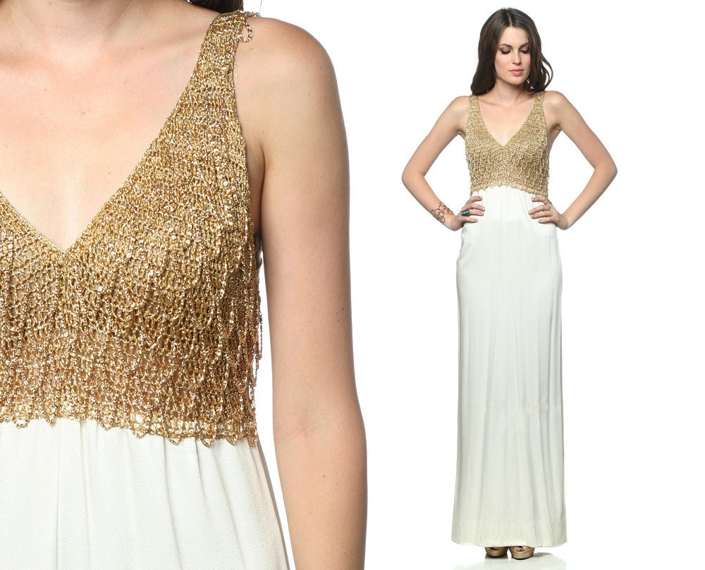 Gold Mail: Gold Grecian Dress 70s Maxi Metallic Chain Mail 1970s Party