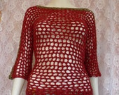 Sweater Pullover OOAK 3/4 Sleeve 100% Hemp Crocheted Boat Neck Red Olive
