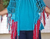 Shawl, Wrap, Scarf, Multi Functional Layering Piece Finger Crocheted Turquoise Blue Red SW101