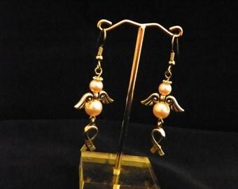 Pink Pearl Hope Angel Earrings
