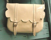 Cream Patent Leather Scallop Satchel FREE SHIPPING