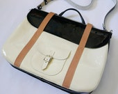 Navy & Cream Patent Leather Briefcase