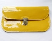 SALE Yellow Patent Leather Clutch