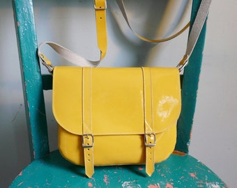 Yellow Patent Leather Satchel
