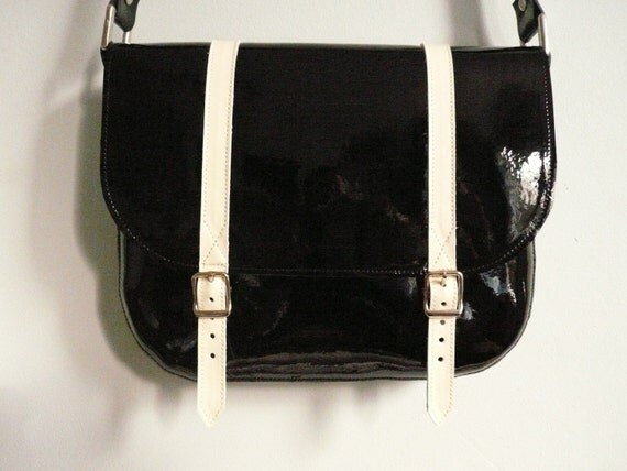 SALE Two-Tone Patent Leather Satchel