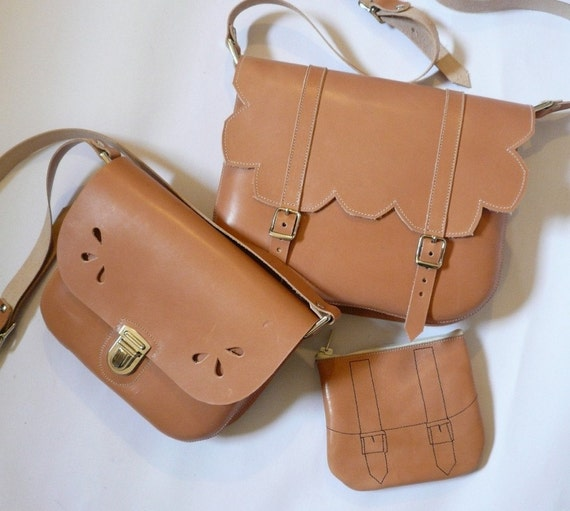 Mother Daughter Purse Set Natural Leather