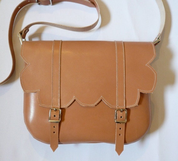 Natural Leather Scallop Satchel