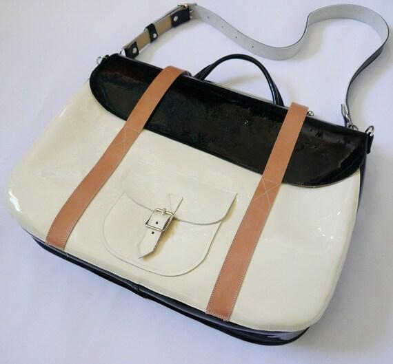 Navy & Cream Patent Leather Briefcase