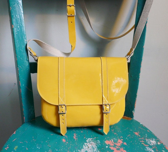 Yellow Patent Leather Satchel