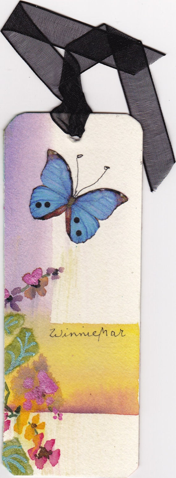 BUTTERFLY BOOKMARK SIGNED on heavy 300 pound watercolor paper very original