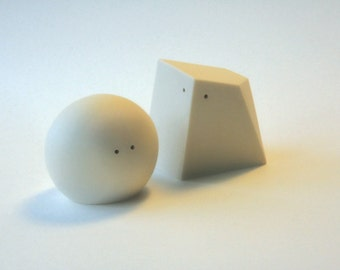 Fifty Percent Off Seconds - Salt and Pepper Shakers (White and White)