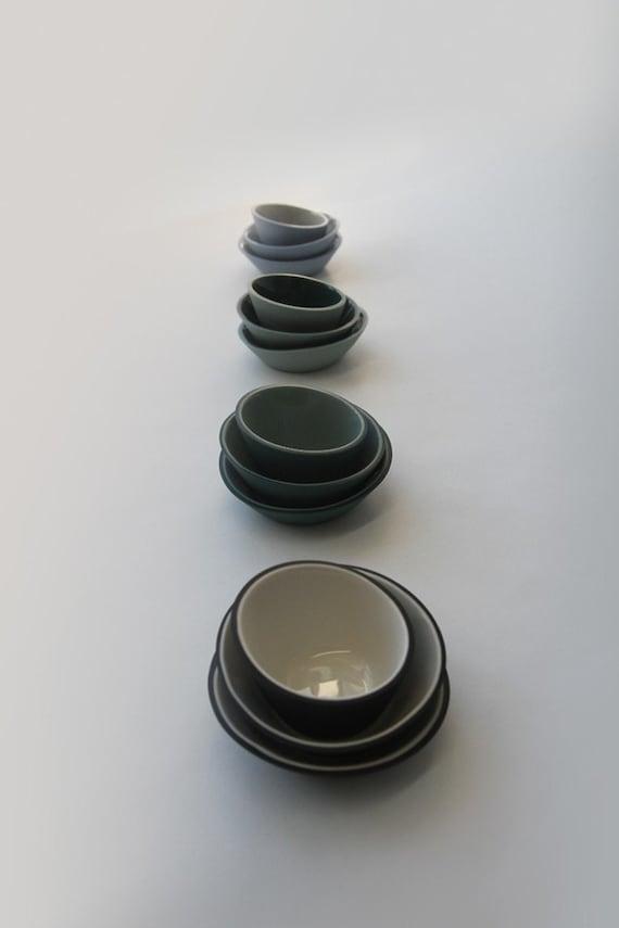 Fifty Percent Off Seconds - Dark Green and Light Green Mini-Bowls