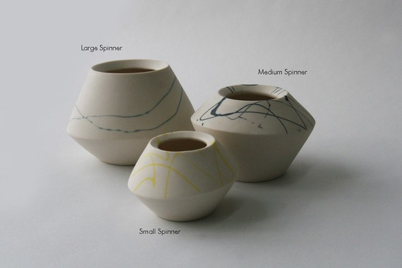 Forty Percent Off Samples - Medium White with Yellow Spinner with Matte Glaze