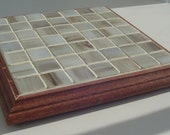Copper Marble Colored Glass Tile Trivet with Rosewood Color Border