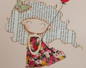 Girl with Red Balloon Original Mixed Media Illustration