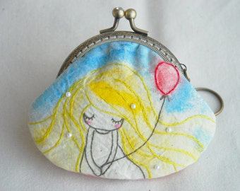 Girl with Red Balloon Vintage Embroidery Purse (Metal Frame)