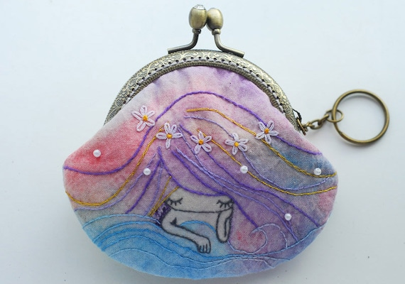 Mermaid Vintage Embroidery Purse (Metal Frame, My Own Design )