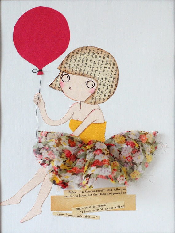 Girl with Bob cut and Red Balloon Original Mixed Media Illustration