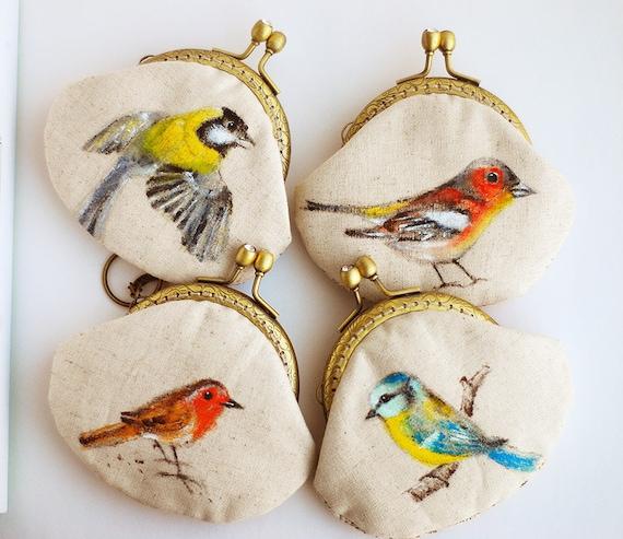 Garden bird Hand painted Vintage Purse (made to order)