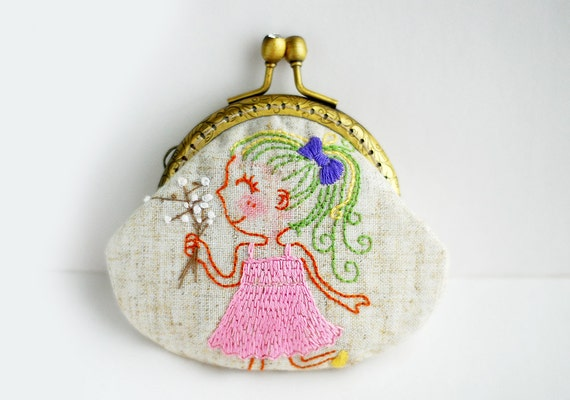 Gril with white flowers Purse (Metal Frame, My Own Embroidery Pattern )