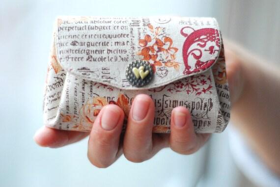 Rose Heart Coin/Card Purse (Triple Pockets)