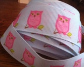 1 Yard of Sweet Pink Owls on Light Blue Background Grosgrain Ribbon 7/8 inches wide