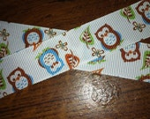1 Yard of Blue and Brown Owls on White Background Grosgrain Ribbon 7/8 inches wide