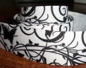 1 Yard Pretty Black Swirls, Butterflies, and Hearts Grosgrain Ribbon 7/8 inches wide