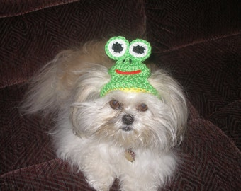 Dog hat - HOPPY FROG hat - Humorous - 2 to 20 lb pets - need measurement
