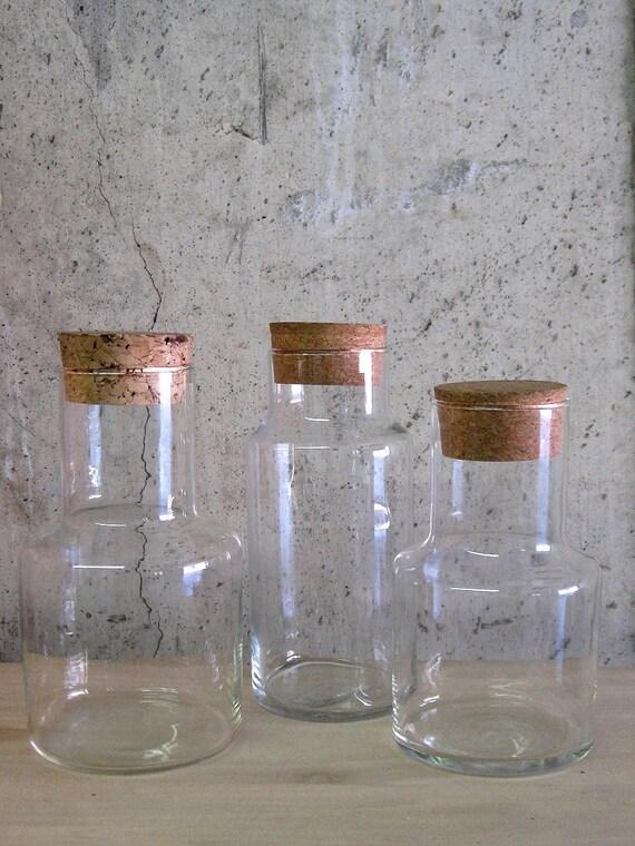 circa 1970s GLASS SPECIMEN JARS with cork lids