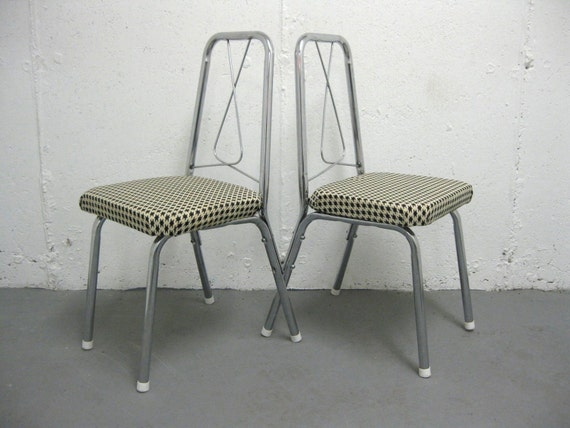 cicra 1960s PAIR of CHILDRENS CHAIRS. mod houndstooth fabric.