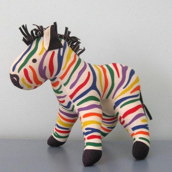 vintage ZEBRA STUFFED ANIMAL in rainbow canvas
