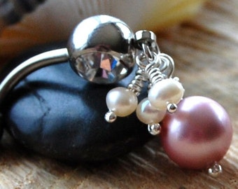 "Belly Ring /  Belly Jewelry /  Silver / Swarovski and Freshwater Pearls / ""Precious"""