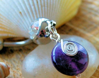 "Belly Ring / Belly Jewelry / Belly Barbell / - Amethyst and Sterling Swirl / ""Dainty"""