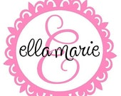 Initial and Name Monogram Wall Decal with Scallop Circle Fun Border Frame Baby Nursery Girl FN0066