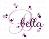 Polka Dot Monogram Wall Decal - Girl Name Decals - Baby Nursery Toddler Teen Decor 22h x 36w INA0020