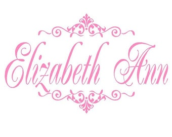 Baby Girl Name Wall Decal with Elegant Accents - Wall Decal for Baby Nursery or Teen Girl 22h x 36w FN0056