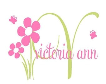 """Initial and Name Vinyl Wall Decal with Flowers and Grass - Baby Girl Nursery Wall Stickers 22""""h x 32""""w INA0002"""