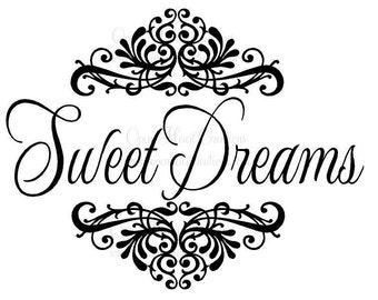 """Sweet Dreams Baby Wall Decal with Shabby Chic Damask Accents 22""""h x 28""""w BA0137"""