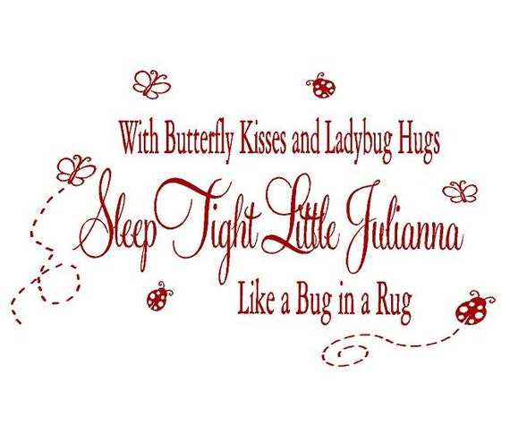Personalized Baby Nursery Wall Decal - With Butterfly Kisses and Ladybug Hugs - Baby Nursery Wall Sayings 22H X 36W Ba0084