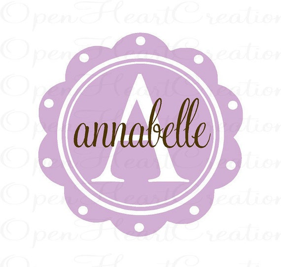 Girl Name Wall Decals - Initial and Name Scallop Circle Wall Decal- Girl Baby Nursery 22 inch round FN0236