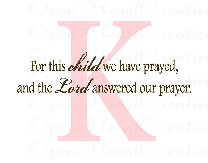 For This Child We Have Prayed Wall Decal Christian Scripture