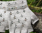 Sage green handknitted fingerless gloves with beads