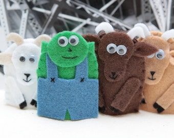 The Three Billy Goats Gruff - finger puppet set