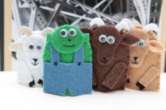 The Three Billy Goats Gruff - finger puppet set