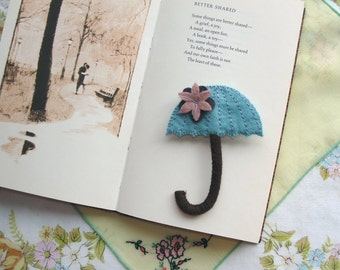 Wool Felt Umbrella Brooch - Sky Blue