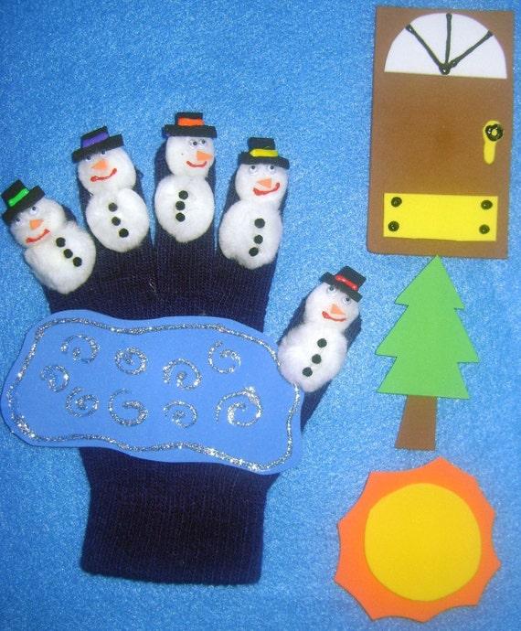 5 LITTLE SNOWMEN Fingerplay Puppet Set with FREEBIES