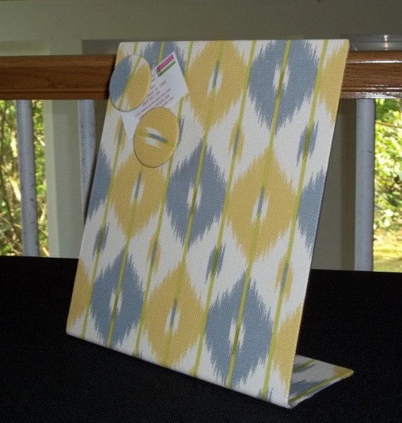"Kitchen Organizer Magnetic Boards Fabric - Diamond Haze Yellow and Gray Fabric - Memory and Organizing Board - 11"" x 12"" Desktop"